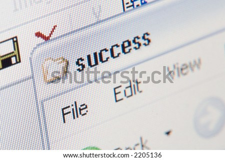 "close up shot of a laptop screen, shallow DOF, focus on  first ""s"" letter - stock photo"