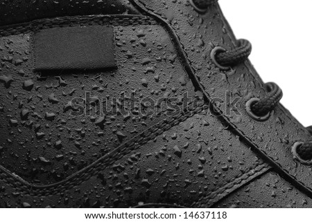 Close-up shot of a leather waterproof boot - stock photo