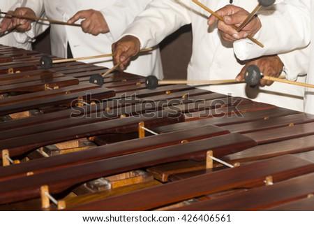 Close-up shot of a marimba or Hormigo keyboard. Guatemala - stock photo