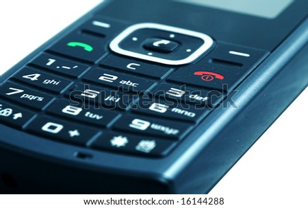 Close-up shot of a mobile phone keypad with shallow Depth of Field - stock photo