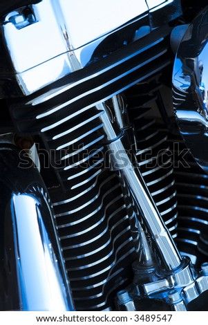 Close-up shot of a motorcycle engine