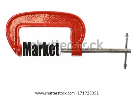 "Close up shot of a red vice and the word ""Market"" - stock photo"