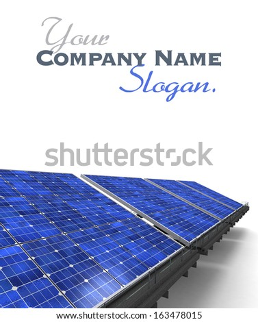 Close-up shot of a row of blue solar panels against a white background - stock photo