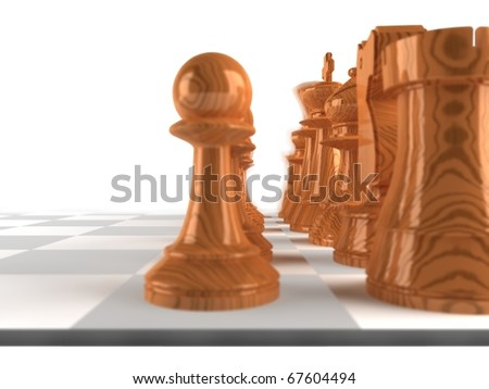 Close up shot of a set of wooden chess pieces - stock photo