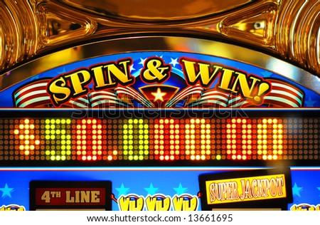 Close up shot of a slot machine in Las Vegas. - stock photo