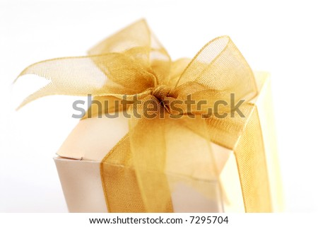 Close-up shot of a small box of appreciation gift. Shallow depth of field shot is intentional. - stock photo