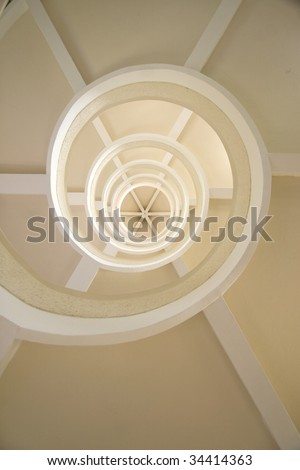 Close up shot of a spiral staircase.