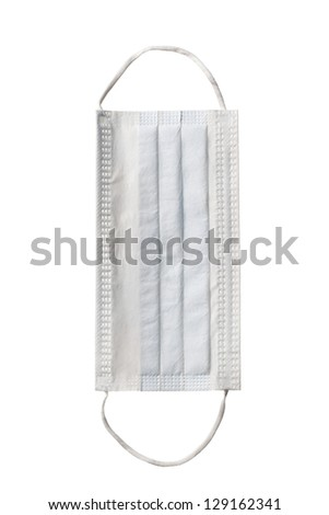 Close-up shot of a surgical mask isolated on white. - stock photo