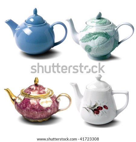 close up shot of a teapots on white background - stock photo