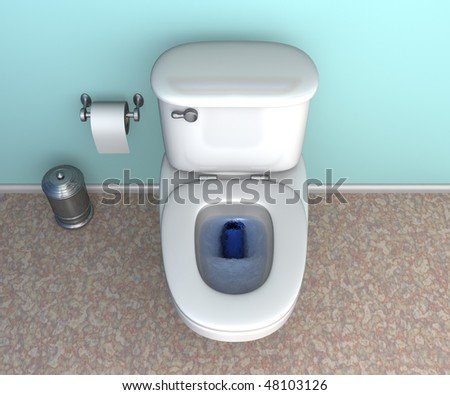 Close up shot of a toilet flushing with blue water - stock photo