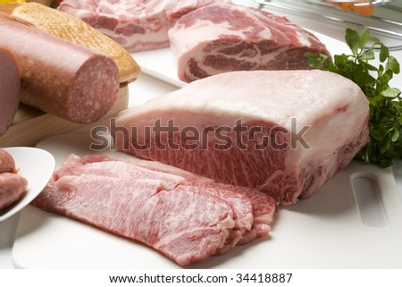 Close-up shot of a  variety of fresh meat on the table