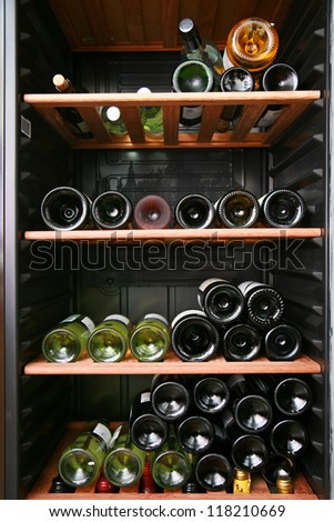 close up shot of a wine cellar - stock photo