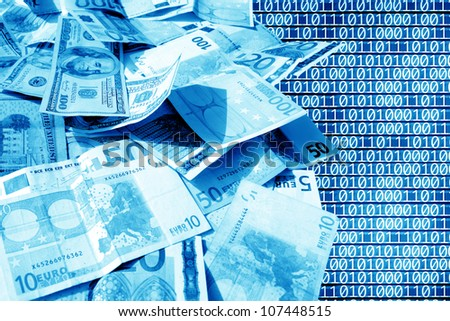 close up shot of American dollar and euro banknote - stock photo
