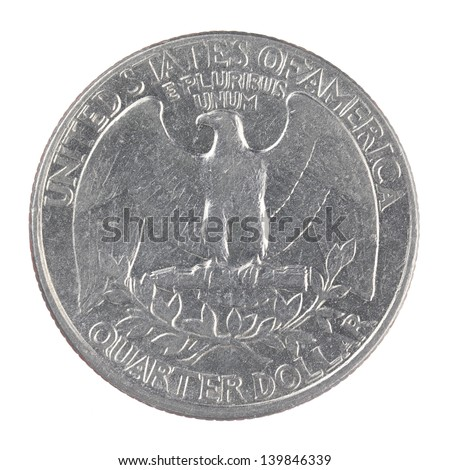 close up shot of an old American one quarter dollar coin isolated on a white background - stock photo