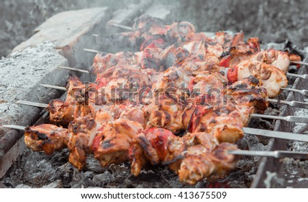 Close up shot of appetizing hot shish kebab with tomatoes on metal skewers prepares on the coals outdoors. Grilling shashlik on barbecue grill. - stock photo