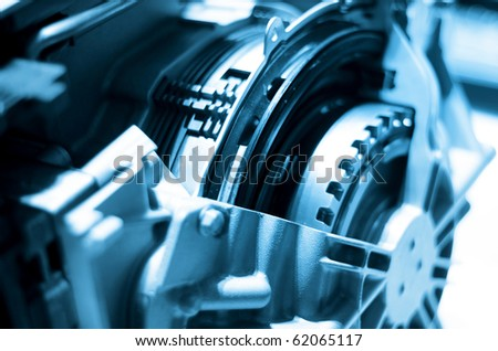 Close up shot of automotive engine components - stock photo