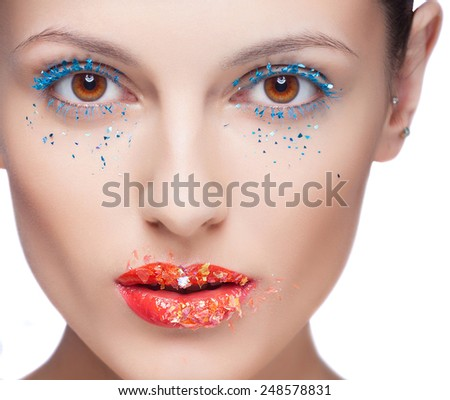 Close-up shot of beautiful female eyes with bright fashion makeup. isolated - stock photo