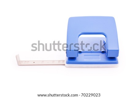 close up shot of blue puncher isolated on white