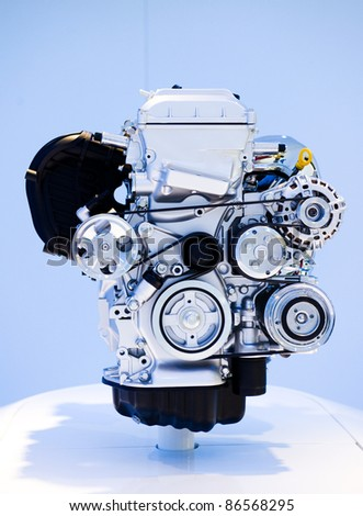 close up shot of brand new car engine. - stock photo