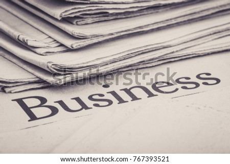 Close up shot of business news concept.