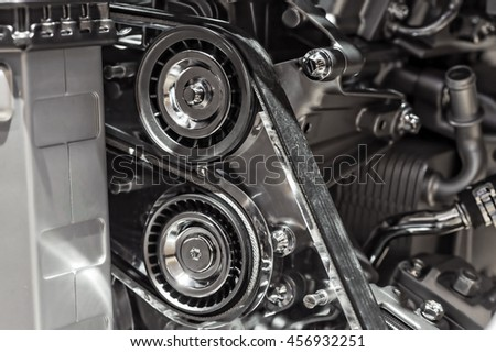 Close up shot of car engine