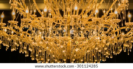 close up shot of chandelier texture for background usage. - stock photo