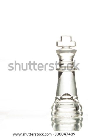 Close-up shot of chess king standing on a white background