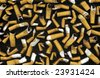 close up shot of cigarettes butt on black - stock photo