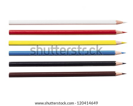 Close-up shot of colorful color crayon pencils on white background. - stock photo