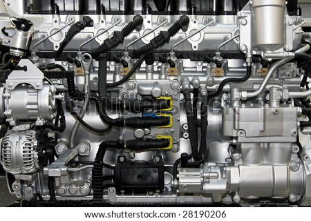 Close up shot of common rail diesel engine - stock photo