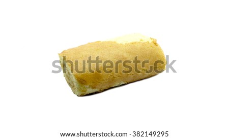 close up shot of cream filled bread on white background - stock photo