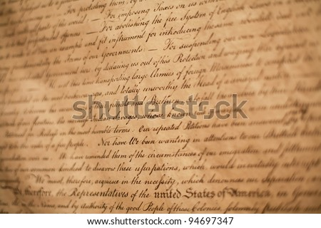 Close-up shot of Declaration of Independence of USA - stock photo