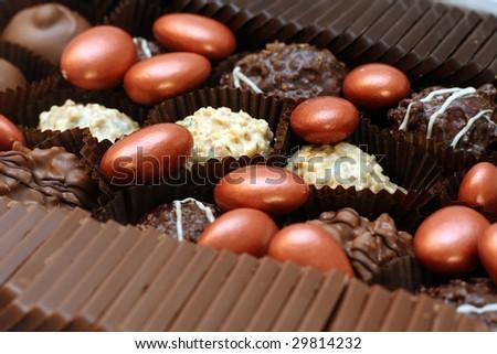 close up shot of delicious chocolates - stock photo