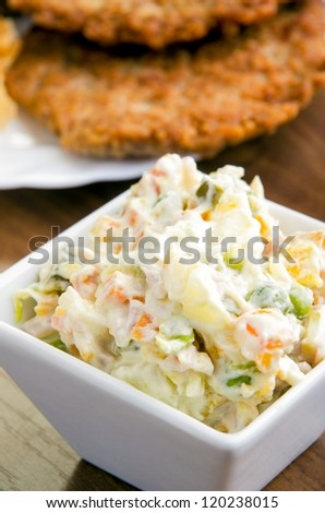 Close up shot of  delicious Russian salad - selective focus - stock photo