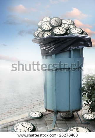 close up shot of dirty dumpster and several clocks in it - stock photo