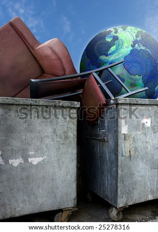 close up shot of dirty dumpsters and globe - stock photo