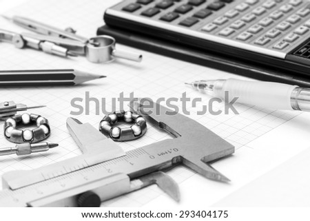 Close-up shot of engineer tools - black and white.