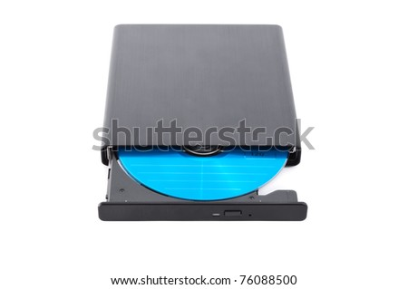 close up shot of external CD DVD burner writer isolated on white - stock photo