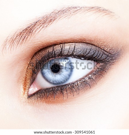 Close-up shot of female eye make-up in smoky eyes style - stock photo