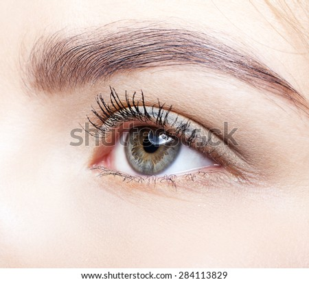 Close-up shot of female eye makeup - stock photo