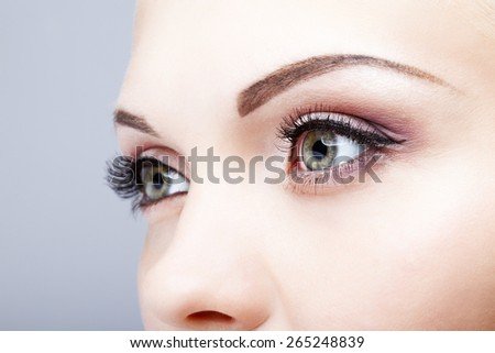 Close-up shot of female eyes makeup - stock photo