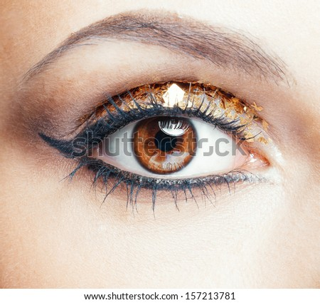 Close-up shot of female face with vogue golden shining eye makeup