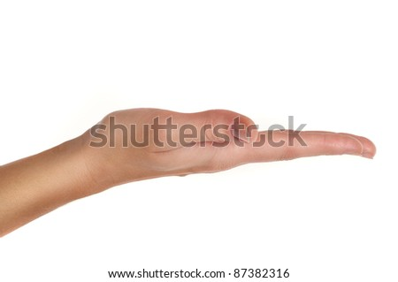 close up shot of female hand holding or showing something with white copyspace isolated on white - stock photo