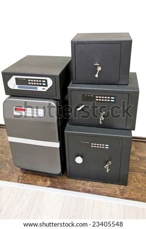 Close up shot of five safe boxes - stock photo