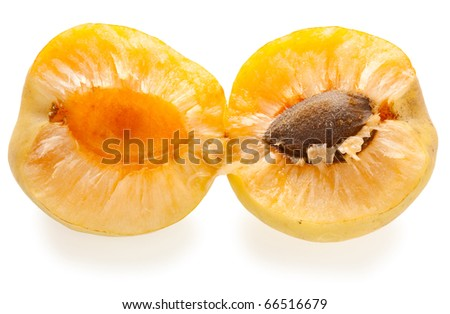 Close-up shot of fresh apricot sliced on two parts - stock photo