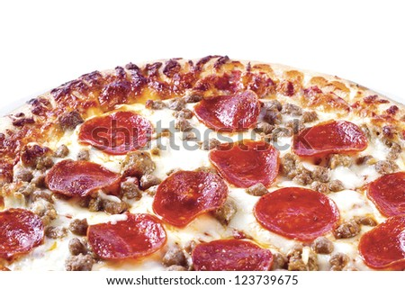 Close-up shot of fresh baked pizza displayed on white background - stock photo