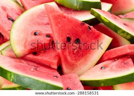 Close-up shot of fresh sliced watermelon. - stock photo