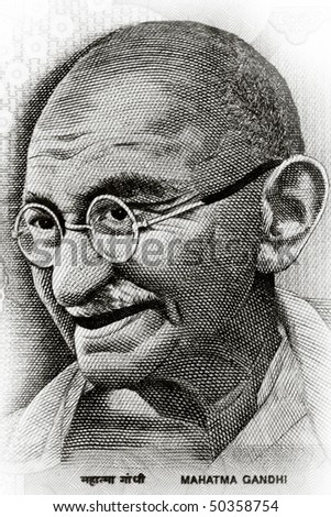 Close up shot of Gandhi on rupee note - stock photo