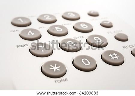 close up shot of grey phone keypad - stock photo