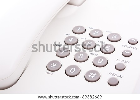 close up shot of grey phone keypad - stock photo